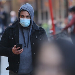 LONDON, UNITED KINGDOM - MARCH 01: A man wears a medical mask in